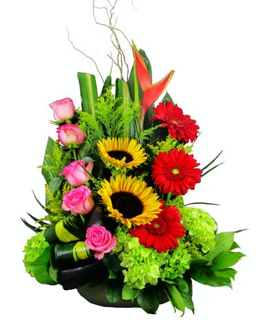 Sunflowers, pink roses, red gerbera daisies, green hydrangea, solidago and heliconia in an artistic wide green vase.