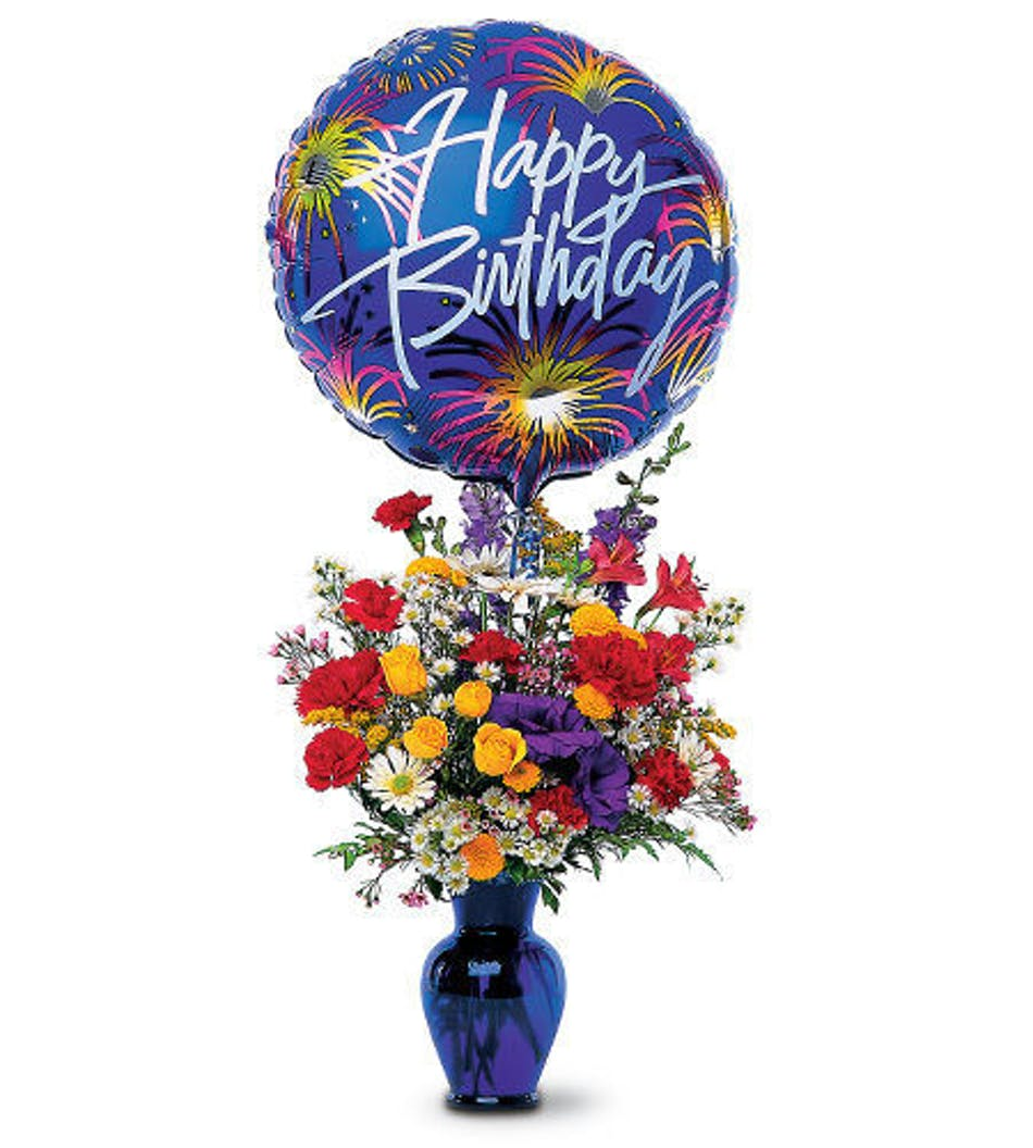 Birthday fireworks in rowland heights whittier glendora ca birthday flower bouquet of red yellow orange and purple flowers in a blue vase izmirmasajfo