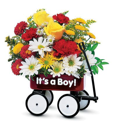 New Baby flowers of a wagon filled with red, yellow and white flowers that says either