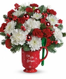 Merry Mug Christmas Floral Bouquet in Rowland Heights, Whittier, Glendora, CA
