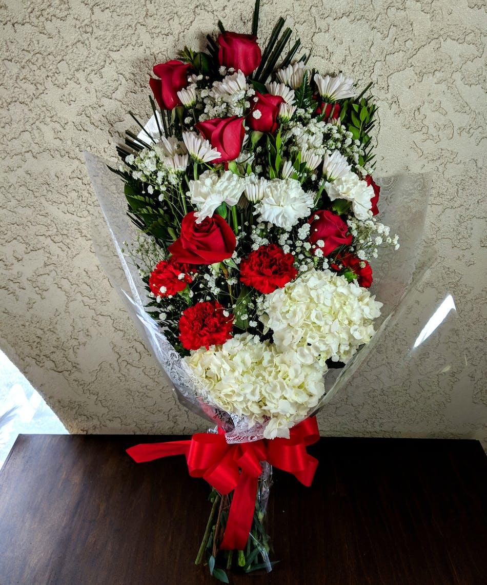 Red white graduation bouquet in rowland heights ca izmirmasajfo