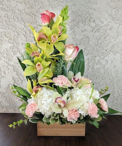 Blush Box with Cymbidium Orchids, Hydrangea, Carnations in Rowland Heights, CA