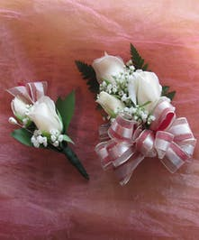 Sweetheart Rose Corsage & Boutonniere Set in Rowland Heights, Whittier, Glendora, CA