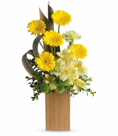 Tall bamboo vase filled with mini yellow gerberas, yellow alstroemeria, green carnations and green button spray chrysanthemums accented with oregonia and brown flax.