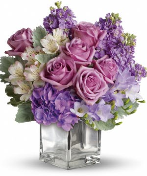 Floral Bouquet with lavender hydrangea, roses & alstroemeria
