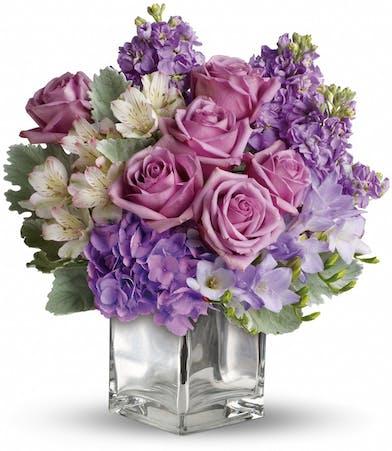 Floral Bouquet with lavender hydrangea, roses & alstroemeria