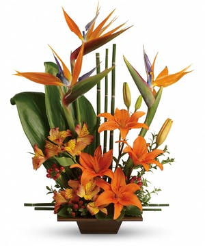 Birds of paradise, lilies, hypericum berries and more in a keepsake bamboo container.