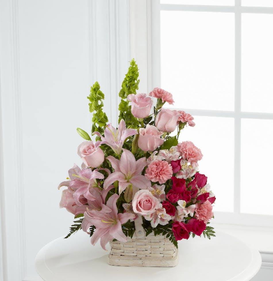 Whittier glendora rowland heights funeral flowers eternal beauty light pink and hot pink funeral flower basket arrangement izmirmasajfo Gallery