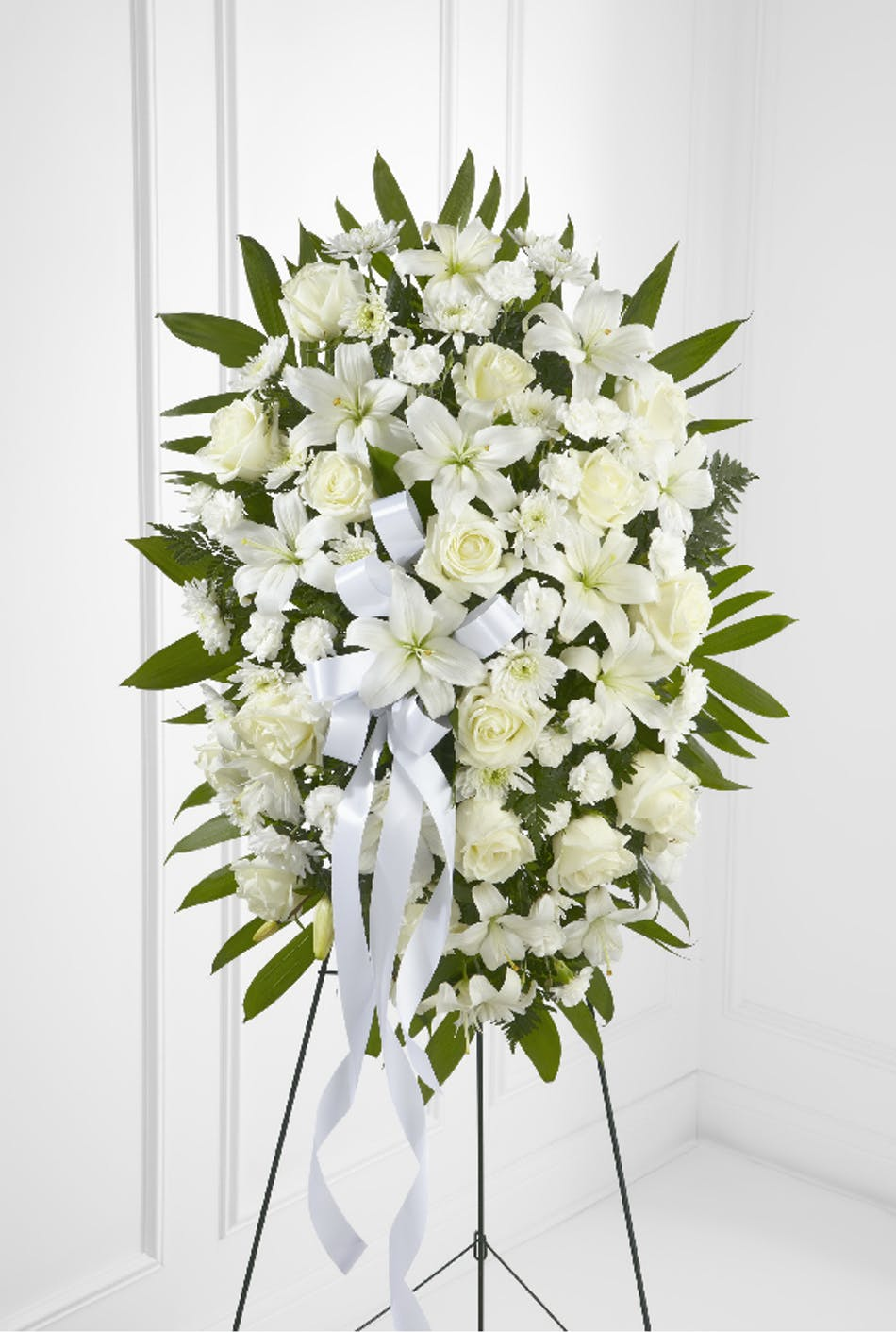 Dear thoughts spray rowland heights funeral flowers white roses and other flowers and greenery in a funeral spray arrangement izmirmasajfo