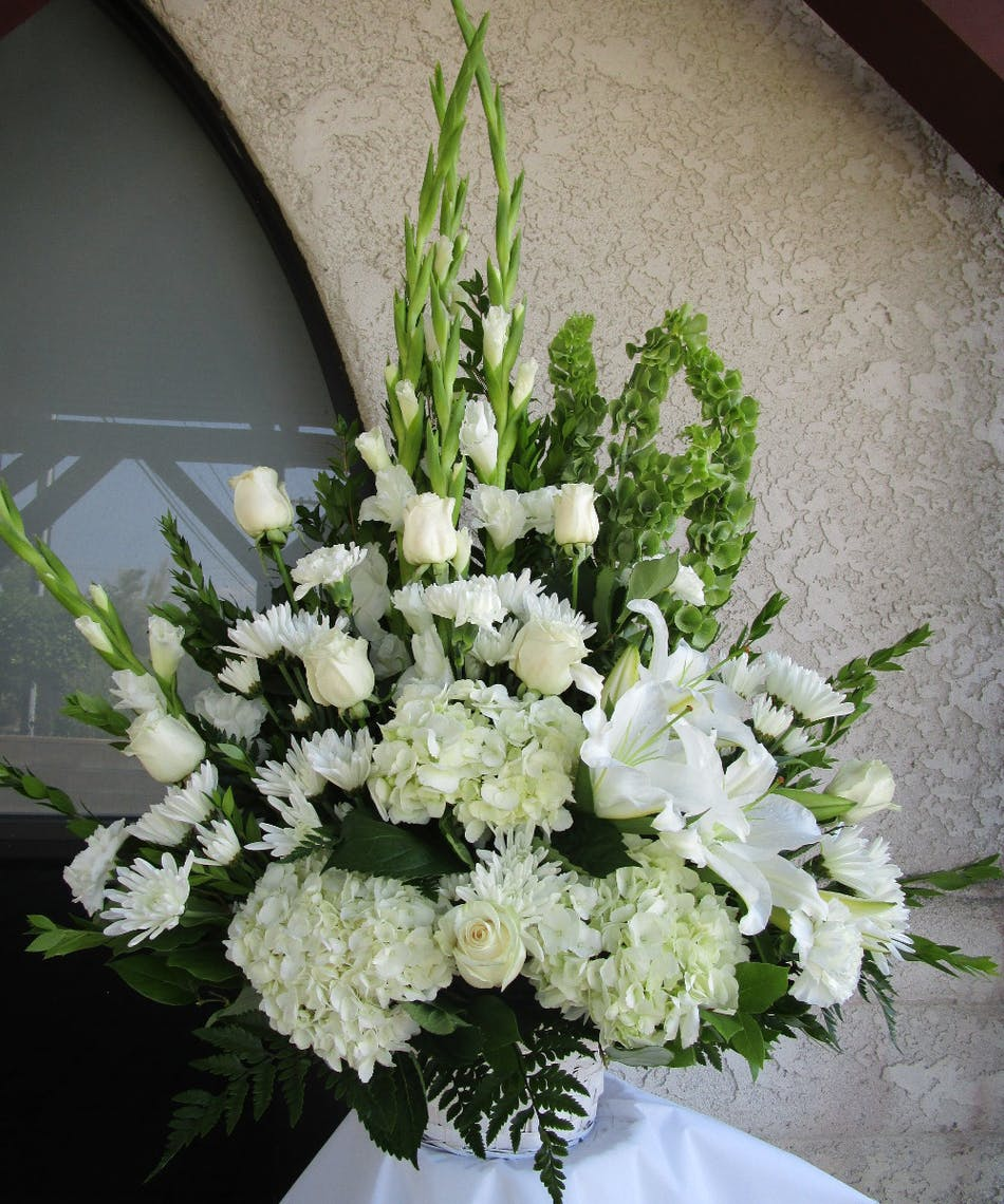 Rowland Heights Sympathy Flowers White Tribute Funeral Basket