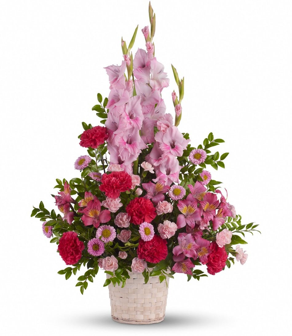 Heavenly heights funeral flower basket rowland heights ca sympathy basket of pink flowers appropriate for a memorial service izmirmasajfo