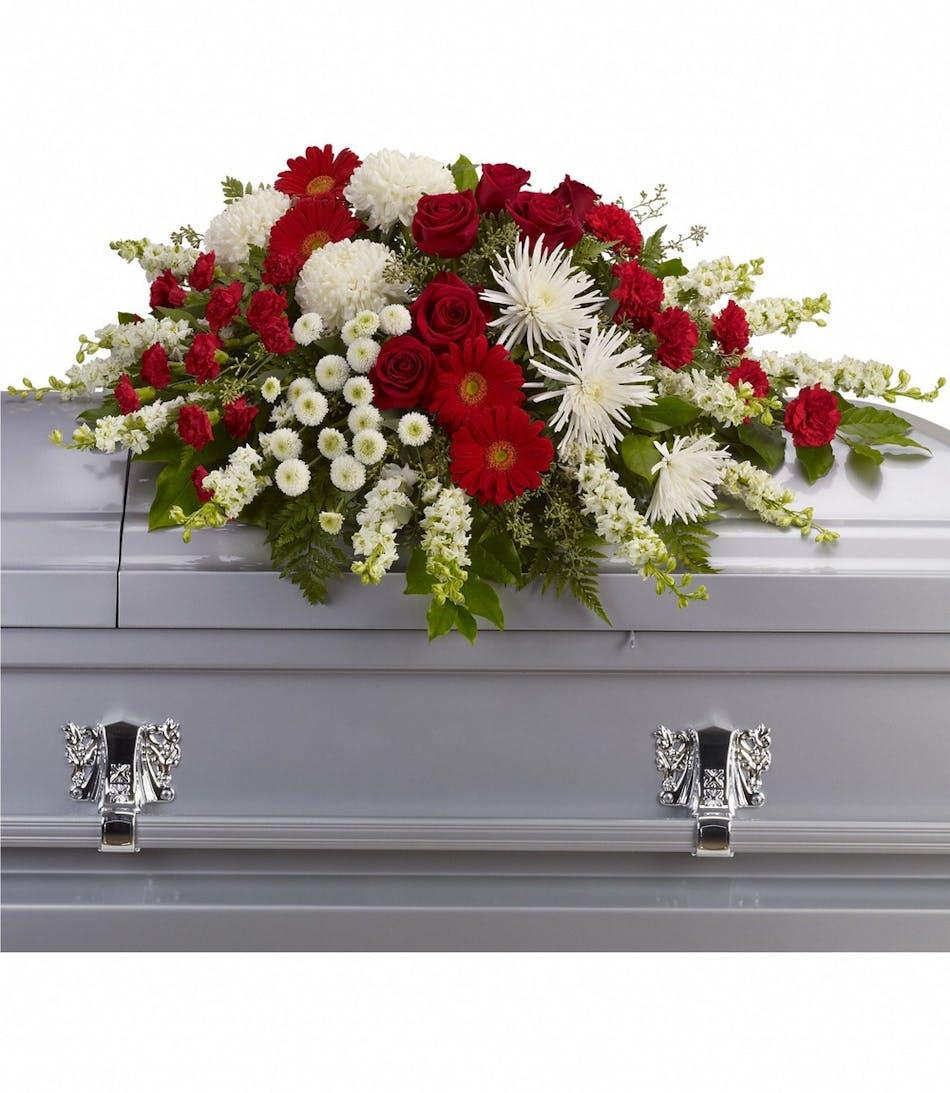 Strength Wisdom Casket Spray Glendora Ca Funeral Flowers