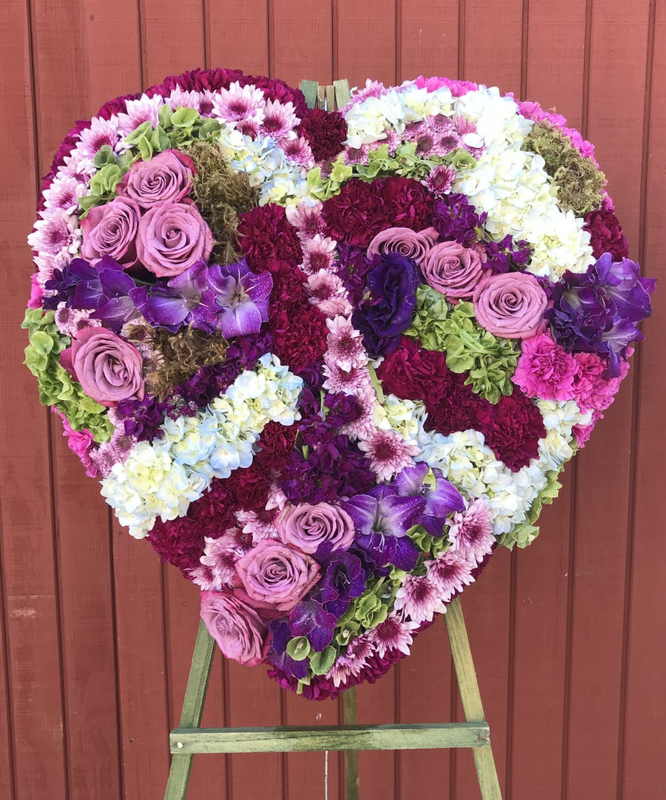 Heavenly Sentiment Floral Heart For Funeral Service