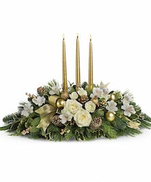 Royal Christmas Centerpiece with White Roses in Rowland Heights, CA