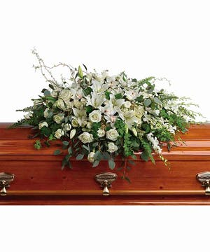 Grandest Glory Casket Spray with White Roses & Lilies in Rowland Heights, CA