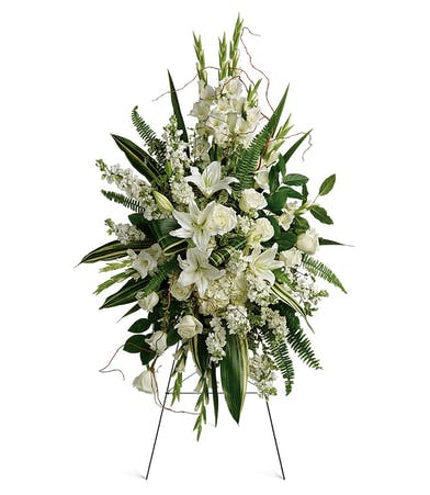 Heartfelt Sympathy Spray with White Roses & LIlies in Rowland Heights, CA