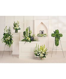 Calming white blooms and unique, sculptural greens