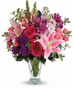 Morning Meadow Bouquet with Pink Roses, Pink Lilies - Rowland Heights, CA