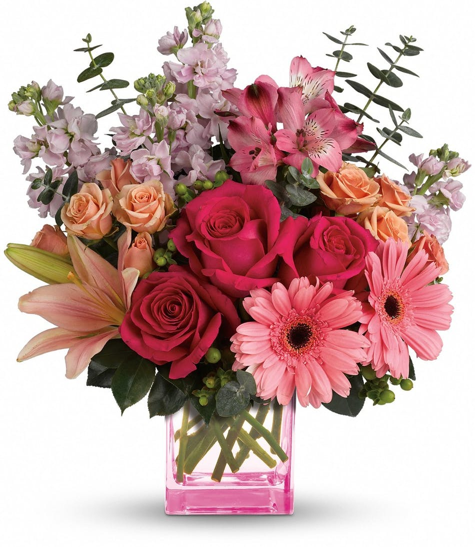 Painterly Pink Bouquet with Roses and Daisies in Rowland Heights, CA