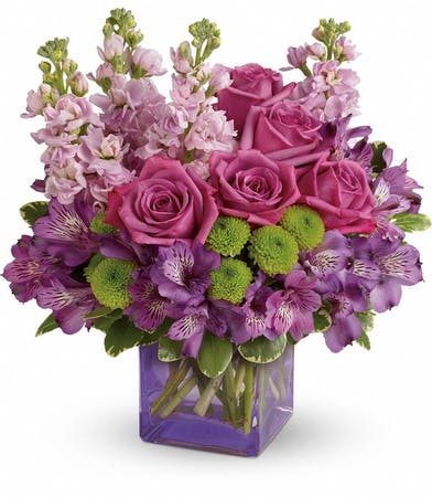 Sweet Sachet Bouquet with Lavender Roses and Pink Stock in Rowland Heights, CA