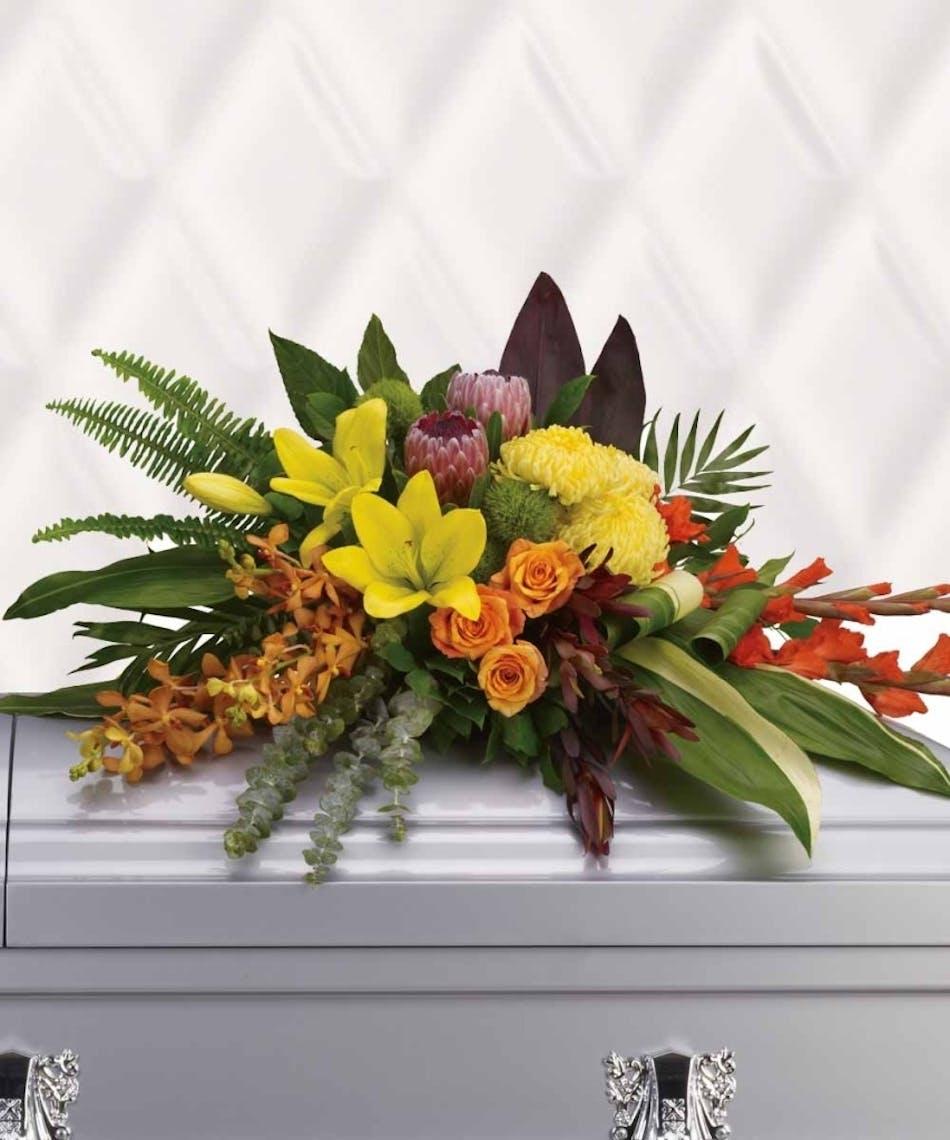 Tropical Memories Casket Spray Flowers Whitteri Glendora