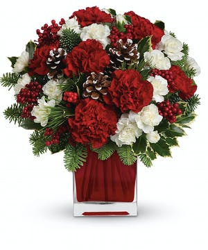 Make Mary Bouquet with Red & White Carnations in Rowland Heights, CA