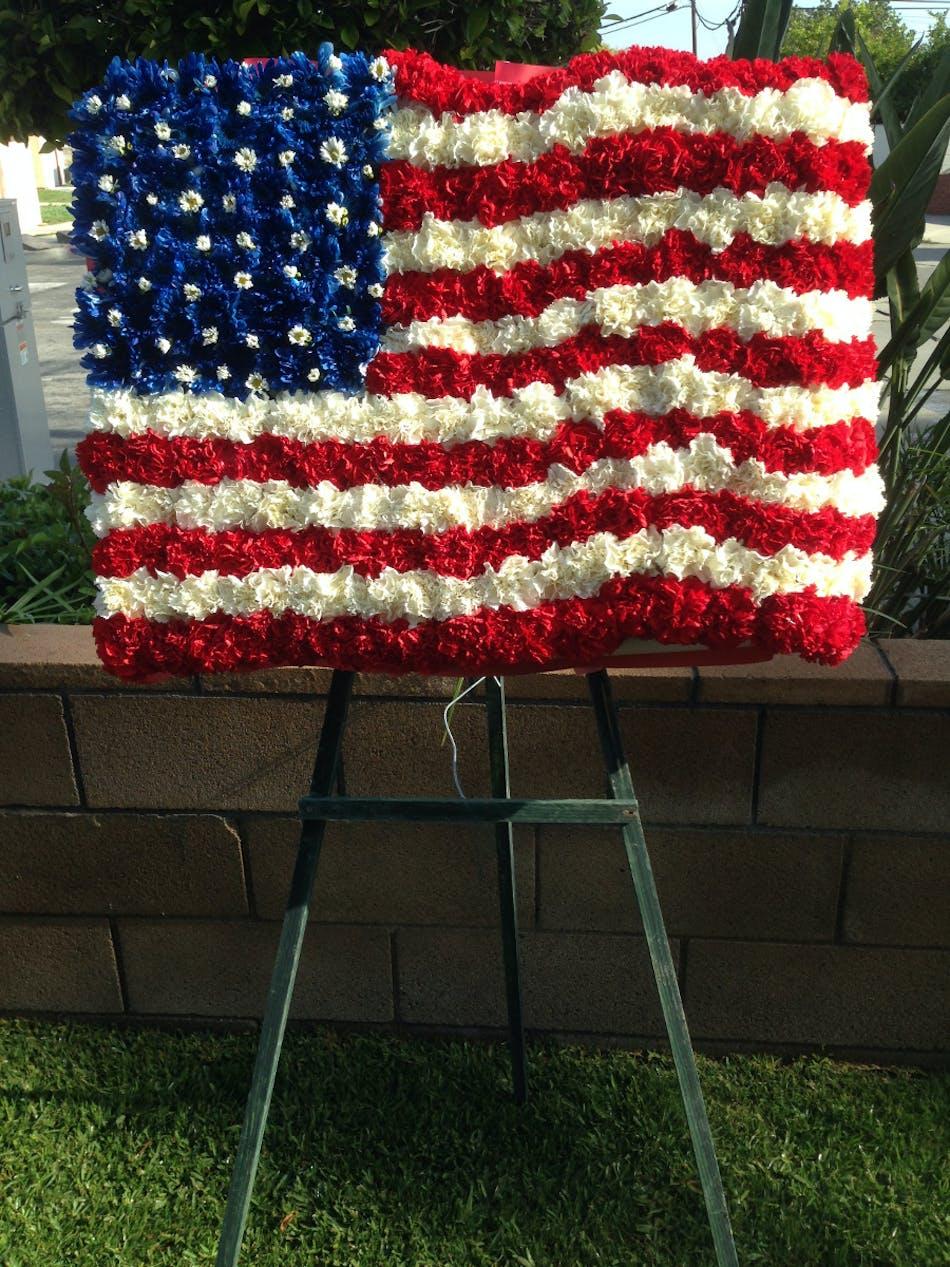 American Flag Flower Spray Sympathy Flower Delivery