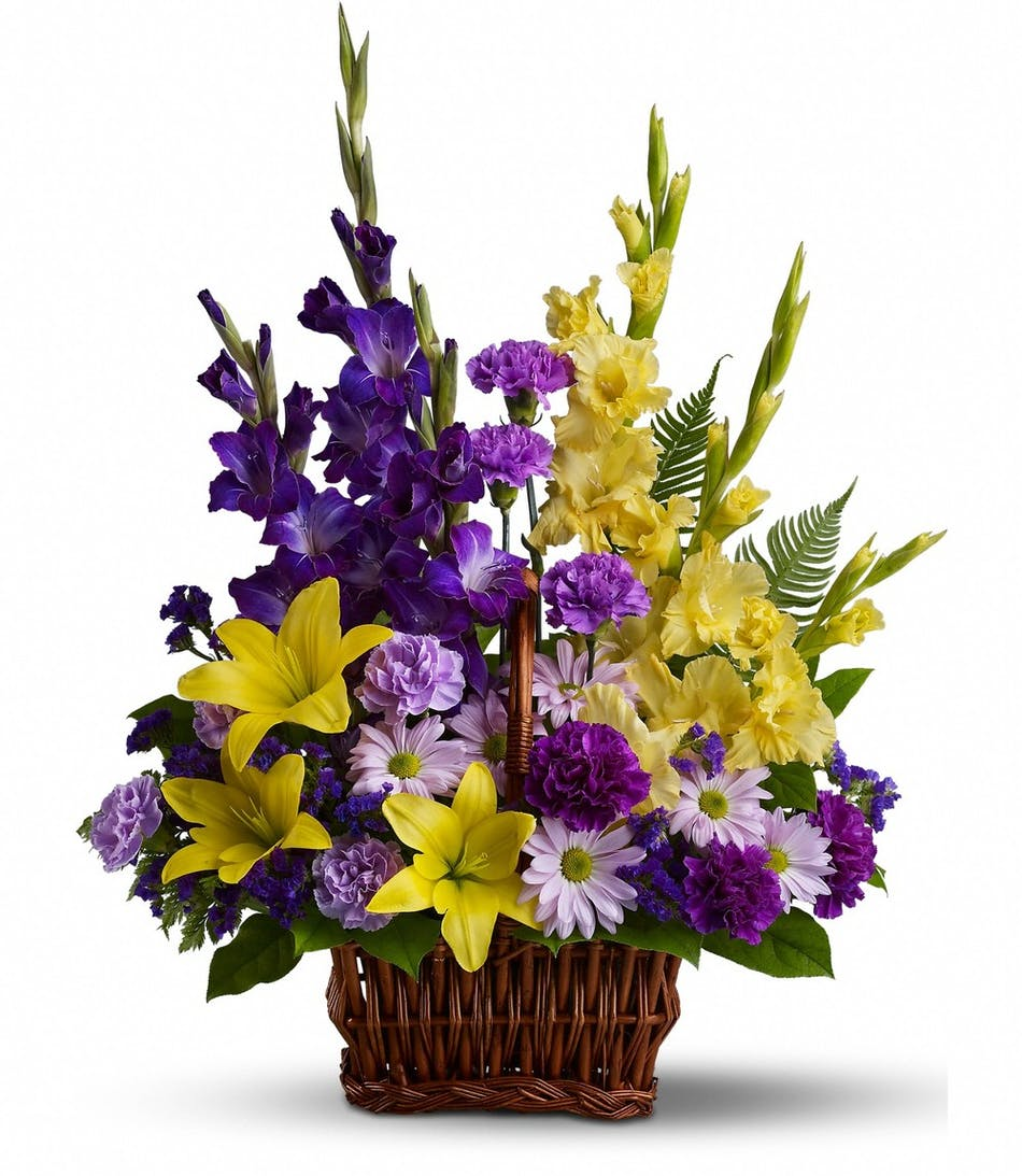 Basket of memories in rowland heights whittier glendora ca sympathy basket of purple and yellow flowers izmirmasajfo