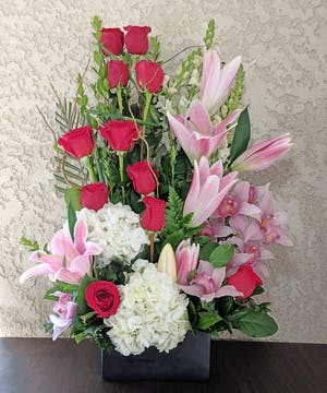 Makes Me Blush with Roses, Lilies, Hydrangea, and Cymbidium in Rowland Heights, CA