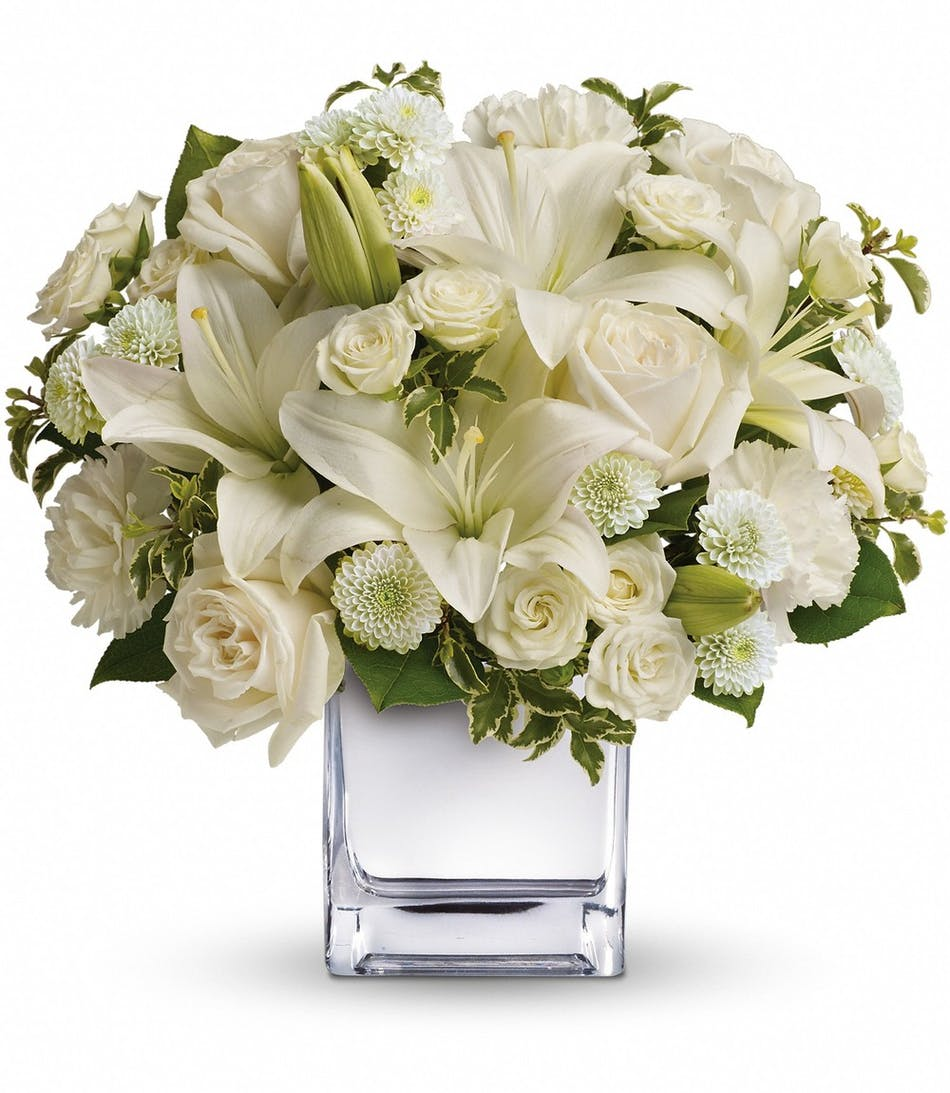 Peace joy a lovely bouquet featuring all white flowers rowland peace joy a lovely bouquet featuring all white flowers rowland heights florist flower delivery ra robinson florist mightylinksfo