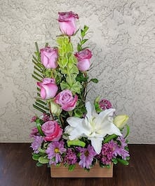 Serene Sensation Floral Design with Roses, Lilies, and Daisies, in Glendora, CA