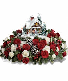 Thomas Kinkade's A Kiss For Santa Christmas Floral Arrangement in Rowland Heights, Whittier, Glendora, CA