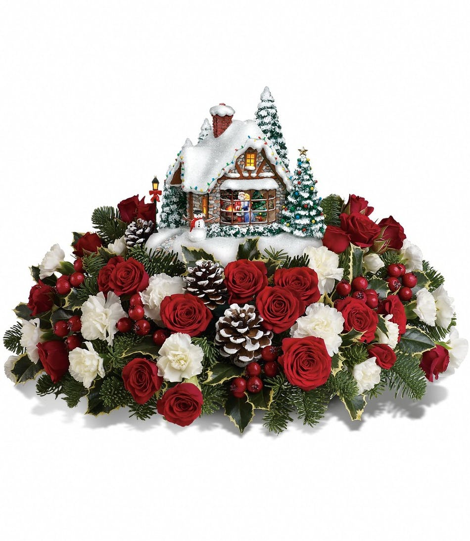 Thomas Kinkades A Kiss For Santa Christmas Floral Arrangement In