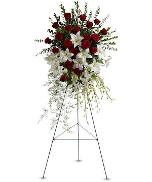 Sympathy spray of red and white flowers accented with greenery.