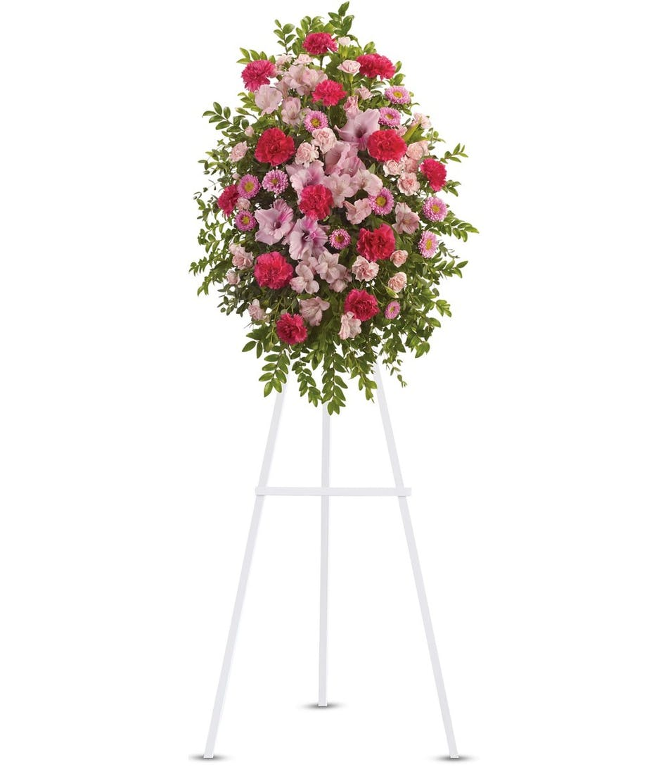 Rowland Heights Ca Funeral Flowers Pink Tribute Spray Ra Florist