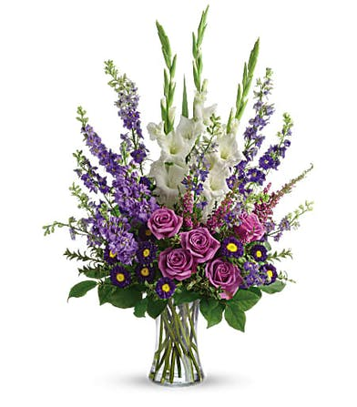 Joyful Memory Bouquet with Lavender Roses in Rowland Heights, CA
