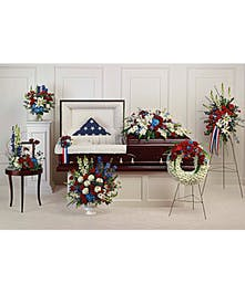 Proud and patriotic, this collection of seven hand-made sympathy pieces honors a life of distinguished service